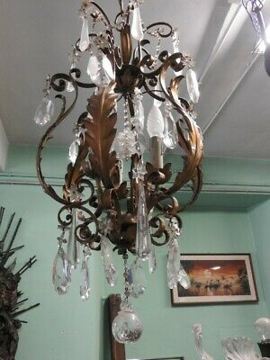 Antique Chandelier Golden with Drops Hanging Ball Crystal Period Xx Century