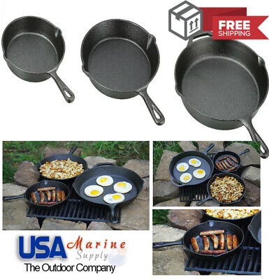 Cast Iron Skillet 3 Pieces Pre-Seasoned Vintage Kitchen Cooking Broil Frying Pan