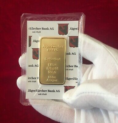 Gold Plated bar / ingot JagerZurcher sealed - collectable bullion NEW - SUISSE