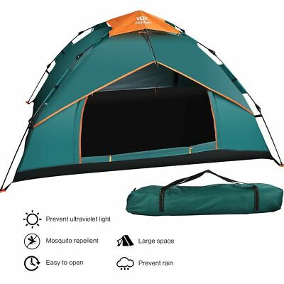 UK 3-4 Men Person Green Camping Pop Up Tent Festival Automatic Double Layer Tent