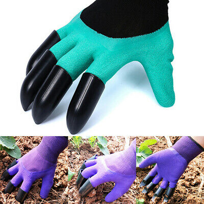 Garden Genie Gloves For Digging&Planting with 4 ABS Plastic Claws Gardening NEW
