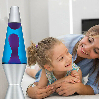 14.5 Lava Lamp Original Motion Liquid Night Light Silver Base Purple Wax Warm