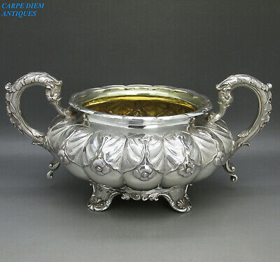 ANTIQUE GEORGE IV GOOD HEAVY SOLID STERLING SILVER SUGAR BOWL 460g LONDON 1827