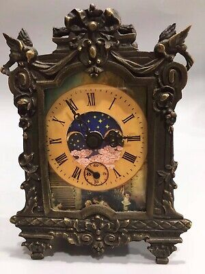 Chinese Old copper handmade fly bird Mechanical clock table Home decoration