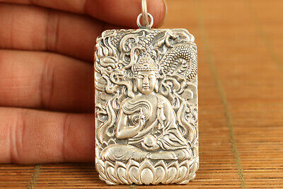 cool unique 925 silver carved buddha statue pendant netsuke necklace amulet gift