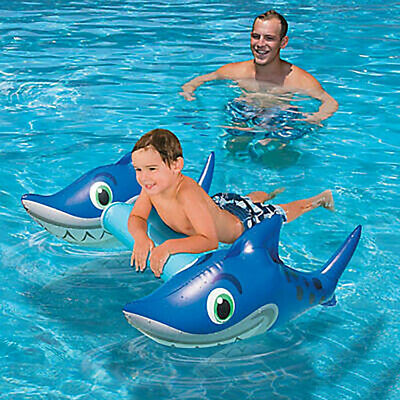 Inflatable Pool Toy Float Water Grinning Shark Raft Ride On Swimming Toy 26' x