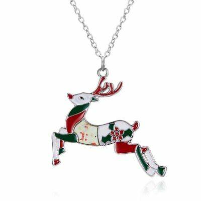 Fashion Christmas Coloful Deer Pendant Necklace Sweater Chain Women Jewelry Gift