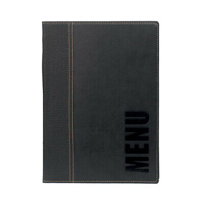 Trendy Black Leather Style A5 Restaurant Menu Holder / Menu Cover