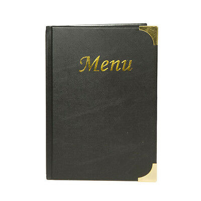 QTY 5 TOP QUALITY A5 MENU FOLDERS IN BLACK LEATHER LOOK PVC WITH GUILT CORNERS