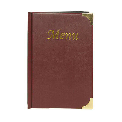 A5 Wine Red Leather Style Restaurant Menu Holder / Menu Cover