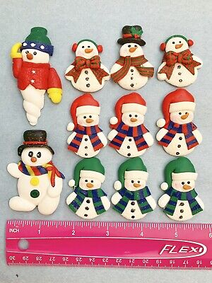 Lot Of 11 Winter Snowman Clay FLATBACK HAIRBOW BOW Craft DIY projects Holiday