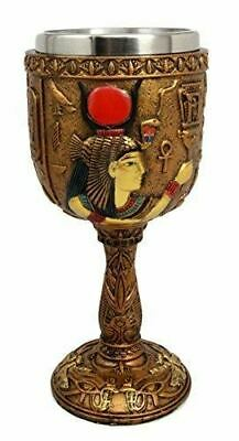 "Ebros Polyresin Ancient Egyptian Wine Goblet In Golden Hieroglyphic Design 7""H"