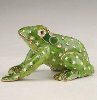 Precious Chinese Cloisonne Hand-Carved Frog Animal Statue Old Decorations