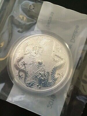 2019 1 oz Silver Double Dragon Double Sealed from the Perth Mint