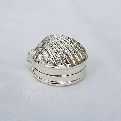 Victorian Style Shell Pill Box 925 Sterling Silver