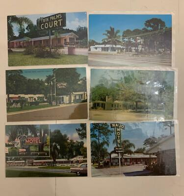 Lot 2117: Old Early Chrome Of Florida Motels With Cool Neon Signs Postcards 1950