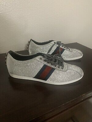 bca3510ebbc5 MENS GUCCI GLITTER Web Sneaker With Studs Size 7 Style 414684 KW040 ...
