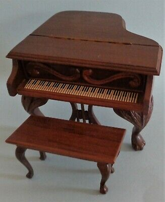 Vintage Sonia Messer Doll House Miniature Walnut Piano & Bench