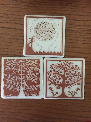 """Set of 3 Vintage White Milk Glass 4"""" Square Painted Tiles Coasters Brown Tree"""