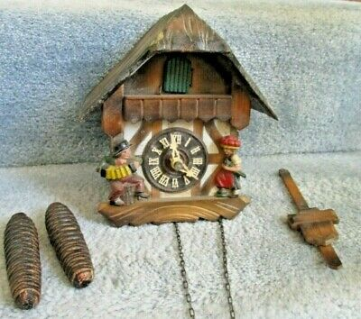 Vintage Cuckoo Clock Germany Man Playing Accordion Lady w Umbrella