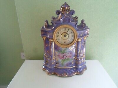 Large Vintage Kitsch Porcelain Mantel Clock Key Wind In Working Order c1930s