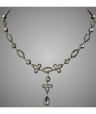 Antique Georgian Victorian Sterling Silver Riviere Paste Crystal Drop Necklace