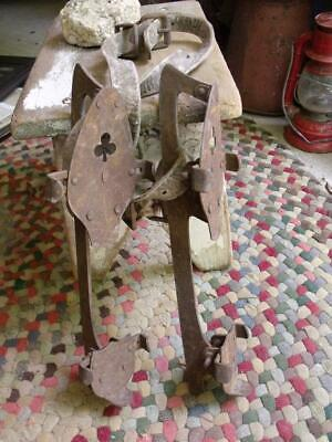 2 Rustic Rusty Primitive Vintage Iron Ice Skates With Leather Strap Barn Sale