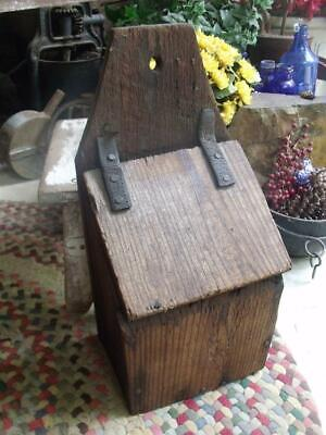 Rustic Primitive Antique Wood Wall Mount Candle Box Leather Hinges Farm Sale Fnd