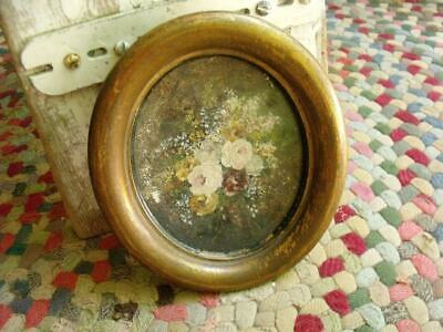 Sweet Small Primitive Vintage or Antique Floral Painting In Shabby Gold Frame