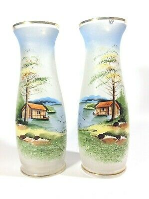 Pair of Vintage Hand Painted Glass Vases