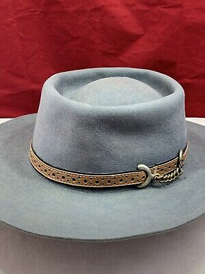 AKUBRA IMPERIAL QUALITY Boater Hat Grey Fur Felt Size 55 Down Under Vintage