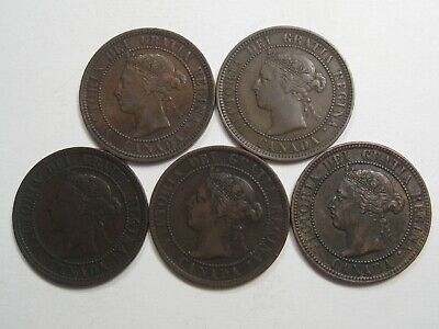 VF 5 Different Year Victoria - Canada Large Cents. 1884,1886,1891,1895,1899. #39