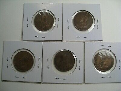 5 XF George V CANADA Large Cents. 1913, '14, '16, '17, '19. Full Crown.  #44