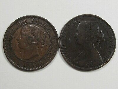 2 Early Canadian Large Cents. 1859 & 1864 Nova Scotia.  #35