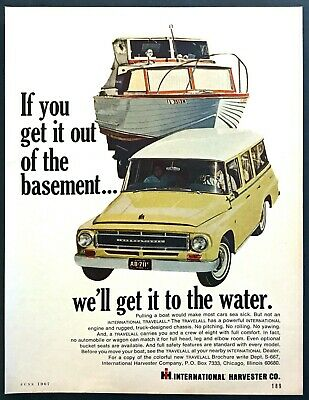 1967 International Travelall Towing Boat photo 'We'll get it to Water' print ad
