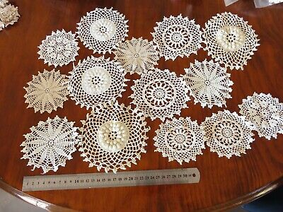 14pc cotton crochet medallions/ doilies cream white 10-14cm make dream catchers