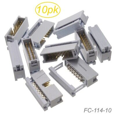 10-Pack, 14-Pin Male IDC Flat Ribbon Cable Box Header 2.54mm Pitch Connectors