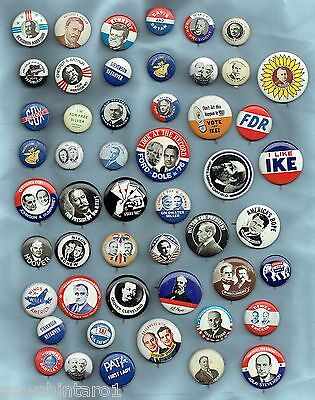 #D229. Collection Of 51  Reproduction  Usa  Historical Political Tin  Badges