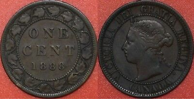 Fine 1888 Canada Large 1 Cent