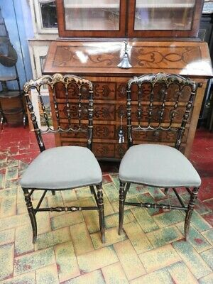Couple Chairs Chairs Chiavarini End 800 Lacquer Black Gold Napoleon III