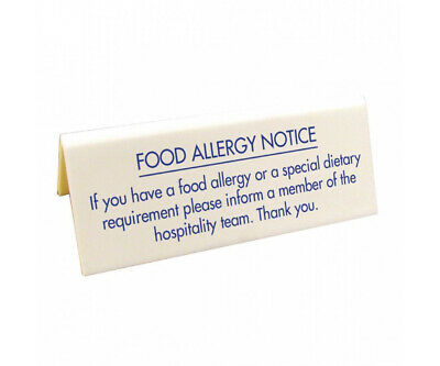 Food Allergy Table Notice Information Sign Restaurants Cafes Pubs Plaque
