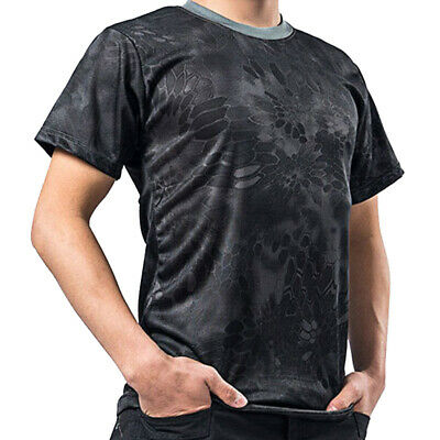 Men's T Shirts Military Crew Neck Short Sleeve Camouflage Army Tactics Tops Tee