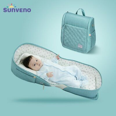 SUNVENO Baby Portable Bed Bag Foldable    Newborn Travel Crib Carry-on Nest Bed