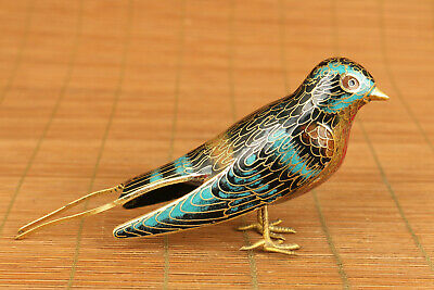 chinese old cloisonne hand painting swallow statue figure collectable