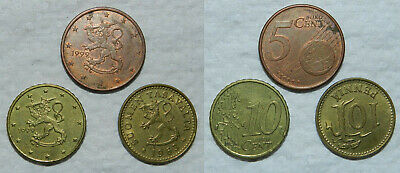 3 X COINS FROM FINLAND - 1963 Pennia, 5 & 10 EURO CENTS