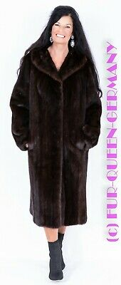 M Classic Nice Dark Brown Mink Fur Coat A-Line