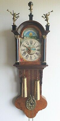 Warmink Friese Clock Tailed Vintage Chain Driven Moonphase Pendule Hermle 1972