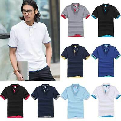 Men's Tops Lapel Shirts Sports Short Sleeve Business Formal Button Tee Casual UK