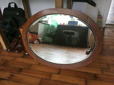 Vintage Antique Oval Wooden Frame Over Mantle Wall Hanging Mirror