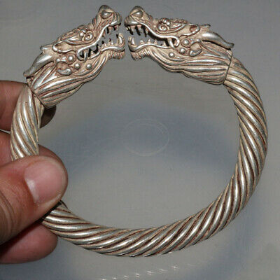 Perfect Medieval Silver Bracelet With Dragon Head